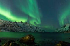 Aurora borealis sopra Tromso Immagine Stock