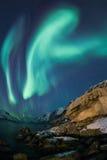 Aurora borealis sopra Tromso Fotografia Stock Libera da Diritti