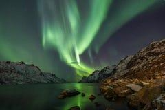 Aurora borealis sopra Tromso Immagine Stock Libera da Diritti