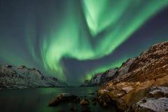 Aurora borealis sopra Tromso Immagini Stock Libere da Diritti