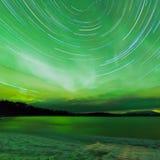 Aurora Borealis Startrails Frozen Lake Laberge Royalty Free Stock Photo