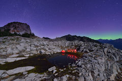 Aurora Borealis and tent on Artist Point, Mt. Baker Royalty Free Stock Images