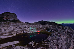 Aurora Borealis and tent on Artist Point, Mt. Baker Stock Images