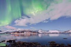 Aurora Borealis under Full Moon in Senja, Norway Stock Photography