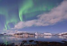 Aurora Borealis under Full Moon in Senja Stock Images