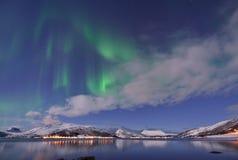 Aurora Borealis under Full Moon in Senja Royalty Free Stock Image