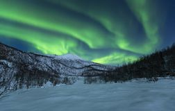 Winter landscape spiced with aurora borealis. Aurora borealis and winter landscape, snow cold and blue light from moon. northern norway delivers heart warming stock image