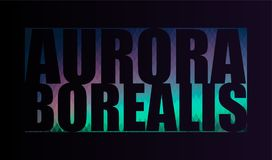 Aurora Borealis, the word on a black background. Aurora Borealis, the word of rhombus with coloring in the style of the Northern lights on a black background Royalty Free Stock Photo