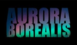 Aurora Borealis, the word on a black background. Aurora Borealis, the word of rhombus with coloring in the style of the Northern lights on a black background Stock Photo