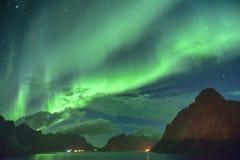 Aurora Borealis y x28; lights& septentrional x29; de Lofoten, Noruega Imágenes de archivo libres de regalías