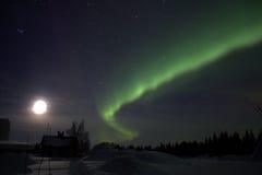 Aurora borealis in Zweeds Lapland stock fotografie