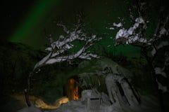 Aurora borealislichten bij nacht in witte sneeuwtoendra, Rusland, het Noorden Mooi noordpool polair landschap van groene blikseml stock fotografie