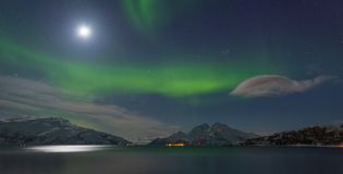 Aurora borealispanorama Royalty-vrije Stock Afbeelding