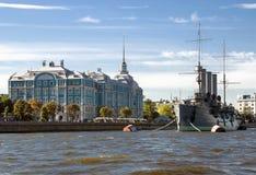 Aurora cruiser on the Neva river in Saint Petersburg. The old revolutionary Aurora cruiser on the Neva river in Saint Petersburg royalty free stock image