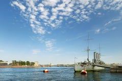 Aurora cruiser in Saint-Petersburg Stock Images