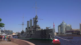 The Aurora cruiser in Saint-Petersburg. 4K stock video footage