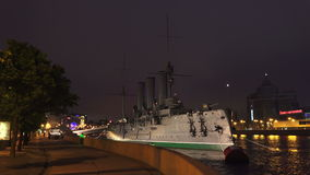 The Aurora cruiser in Saint-Petersburg. Night. 4K stock video footage