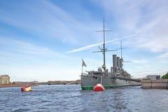 Aurora Avrora Russian Cruiser, museum ship in Saint-Petersburg Stock Photo