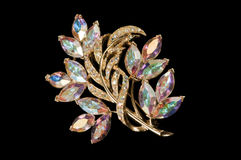 Aurora crystal colourful vintage brooch Royalty Free Stock Photos
