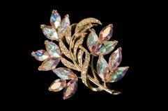 Aurora crystal colourful vintage brooch Royalty Free Stock Photos