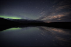 Aurora da reflexão de Jokulsarlon Fotos de Stock