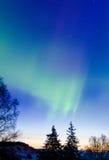 Aurora Dawn 1. An aurora runs to met the dawn Royalty Free Stock Photography