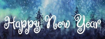 Aurora de la acuarela Tarjeta de felicitación de la enhorabuena de la Feliz Año Nuevo stock de ilustración