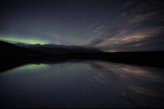 Aurora de la reflexión de Jokulsarlon Fotos de archivo