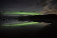 Aurora de la reflexión de Jokulsarlon Foto de archivo