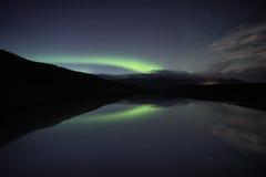 Aurora de la reflexión de Jokulsarlon Imágenes de archivo libres de regalías