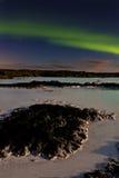 Aurora an der blauen Lagune Stockbild