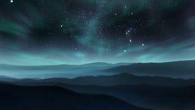 Aurora en el cielo nocturno almacen de metraje de vídeo