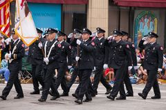 Free Aurora Fire Fighters Marching Fourth Of July Parade Stock Photo - 123942470