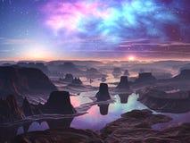 Aurora gassosa sopra il paesaggio straniero montagnoso illustrazione vettoriale