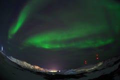 Aurora Green på Teriberka arkivfoton