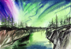 Aurora landscape watercolor painting. Beautiful Aurora landscape background with fir trees forest in far away. Original watercolor painting Stock Photography