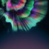 Aurora. Multicolor aurora and star background Stock Image