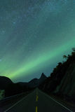 Aurora nightsky over mountain Royalty Free Stock Images