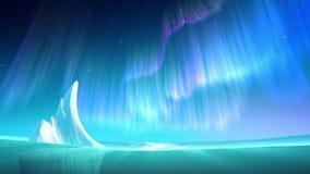 Aurora no mar no laço da noite ilustração royalty free