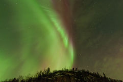 Aurora. The Northern Light corona opens up over trees with beautiful red, green and some purple to it Stock Photo