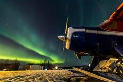 Aurora Over door het Vliegtuig Royalty-vrije Stock Foto