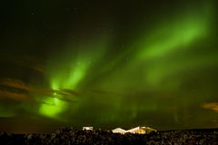 Aurora over the house. The north light Stock Image