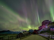 Aurora over Mill Building Stock Image