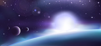 Aurora over a planet stock photo