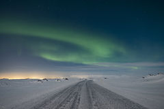 Aurora over road Stock Photography