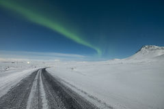Aurora over road Royalty Free Stock Image