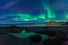 Aurora over the sea stock image
