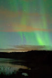 Aurora over Yukon River, near Whitehorse, YT, Cana Royalty Free Stock Images