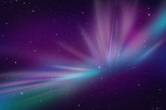 Aurora Polar Lights. Abstract Space Event Illustration. Cool As Background for Any Kind of Artwork. Dark Violet and Blue Colors. Night Sky with Many Stars Stock Photography