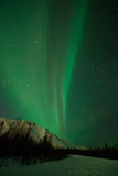 Aurora polaris above the forest. Mountains, stars and Aurora Polaris royalty free stock images